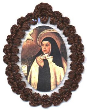 Crocheted relic badges of St. Teresa of Avila, badge of St. Teresa of Avila with relic, cloth touched to the relic of the saint