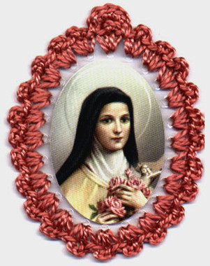 Crocheted relic badges of St. Therese of the Child Jesus, badge of St. Therese of Lisieux, Little Flower, with relic, cloth touched to relic of saint
