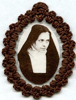 Crocheted relic badges of Blessed Elizabeth of the Trinity, Carmelite, badge of Bl. Elizabeth of the Trinity, with cloth touched to relic of saint