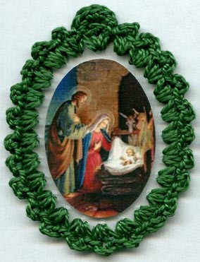 Crocheted relic badges of the Divine Infant Jesus, relic badge, cloth touched to relic of the Crib of Our Lord, Christmas badge
