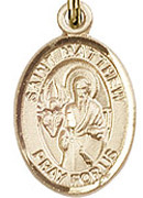 """St. Matthew the Apostle - .50"""" Oval - Gold Filled Side Medal"""