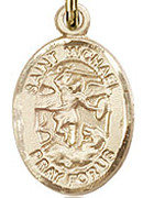 "St. Michael the Archangel - .50"" Oval - Gold Filled Side Medal"