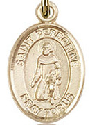 """St. Peregrine Laziosi - .50"""" Oval - Gold Filled Side Medal"""