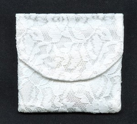 White Chantilly lace rosary pouch / rosary case with velcro
