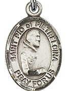 """St. Pio of Pietrelcina - .50"""" Oval - Sterling Silver Side Medal"""