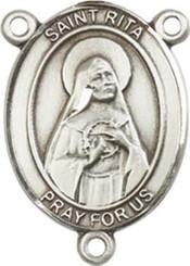 "St. Rita of Cascia  - .75"" Oval - Sterling Silver Centerpiece"