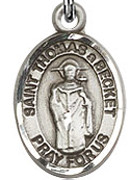 """St. Thomas Becket  - .50"""" Oval - Sterling Silver Side Medal"""