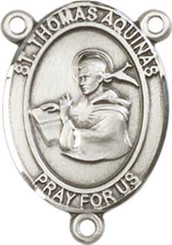 """St. Thomas Aquinas  - .75"""" Oval - Sterling Silver Centerpiece"""