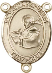 """St. Thomas Aquinas  - .75"""" Oval - Gold Filled Centerpiece"""