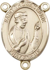 """St. Thomas More  - .75"""" Oval - Gold Filled Centerpiece"""