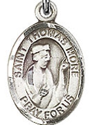 """St. Thomas More - .50"""" Oval - Sterling Silver Side Medal"""