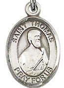 """St. Thomas the Apostle - .50"""" Oval - Sterling Silver Side Medal"""