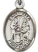 "St. Zita - .50"" Oval - Sterling Silver Side Medal"