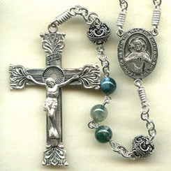 Rosary from a gallery of rosaries handmade by nuns: Moss Agate beads, Sterling Silver parts, and 8 mm Antique Sterling Silver Our Father beads