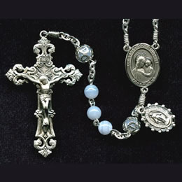Rosary from a gallery of rosaries handmade by nuns: Blue Lace Agate beads with Sterling Silver parts