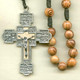 Rosary from gallery of rosaries handmade by nuns: Cord Rosary, Olive Wood beads, Stations of the Cross crucifix, Round Carved Our Father beads