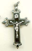 """Ebony Fleur-de-lys Crucifix - 1.75"""" - Wood and Nickel Silver"""