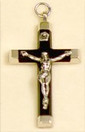 "Ebony Metal Back Crucifix - 1.5"" - Wood and Nickel Silver"