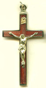 "Rosewood Wood Back Crucifix - 1.874"" - Wood and Brass"