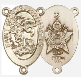 """St. Michael / Army - .875"""" Oval - Gold Filled Double Sided Centerpiece"""