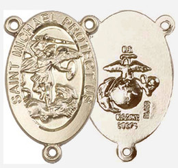 """St. Michael / Marines - .875"""" Oval - Gold Filled Double Sided Centerpiece"""