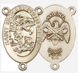"""St. Michael / National Guard - .875"""" Oval - Gold Filled  Double Sided Centerpiece"""