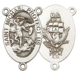 """St. Michael / Navy - .875"""" Oval - Sterling Silver Double Sided Centerpiece"""