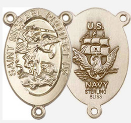 """St. Michael / Navy - .875"""" Oval - Gold Filled Double Sided Centerpiece"""
