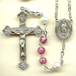 Rosary from a gallery of rosaries handmade by nuns: Pink Czech Lampwork Rose Beads with Sterling Silver parts, Our Lady of Guadalupe center, Freshwater Pearl Our Father beads