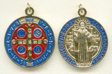 St. Benedict Medal - Gold Plated Enamel