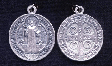St. Benedict Medal - silver oxidized