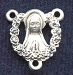 "Our Lady with Ring of Roses - .56"" - Sterling Silver Centerpiece"