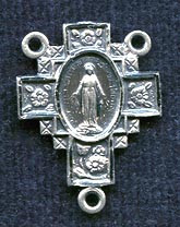 """Floral Cross Miraculous Medal - .875"""" - Sterling Silver Centerpiece"""