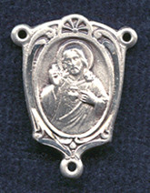 "Scapular Shield (Our Lady of Mount Carmel on back) - .75"" - Double Sided Sterling Silver Centerpiece"