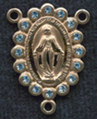 """Miraculous Medal With Aqua Crystal - .75"""" - Gold Filled Centerpiece"""