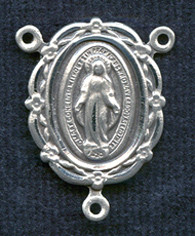 """Floral Edge Miraculous Medal - .875"""" - Sterling Silver Centerpiece"""