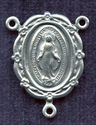 "Floral Edge Miraculous Medal - .875"" - Silver Oxidized Centerpiece"
