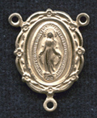 """Floral Edge Miraculous Medal - .875"""" - Gold Filled Centerpiece"""