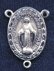 """Miraculous Medal with Etched Frame - .875"""" - Sterling Silver Centerpiece"""