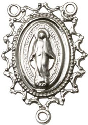 """Filigree Miraculous Medal - 1"""" - Sterling Silver Centerpiece"""