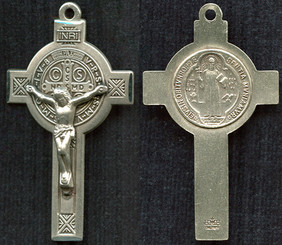 """Engraved St. Benedict Crucifix - 2"""" - Sterling Silver"""
