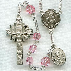 First Communion rosary handmade by nuns, Light rose Austrian Crystal beads, sterling silver parts, oval Holy Eucharist side medal