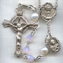 First Communion rosary handmade by nuns, Rosewater Opal Austrian Crystal beads, sterling silver parts, St. Therese with Our Lady of Carmel side medal