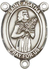 """St. Agatha - .75"""" Oval - Pewter Centerpiece"""
