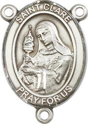 "St. Clare of Assisi  - .75"" Oval - Pewter Centerpiece"
