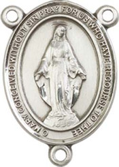 "Miraculous Medal  - .75"" Oval - Pewter Centerpiece"