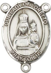 """Our Lady of Loretto - .75"""" Oval - Pewter Centerpiece"""