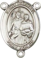 "St. Raphael the Archangel  - .75"" Oval - Pewter Centerpiece"