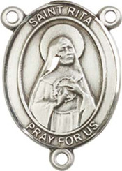 "St. Rita of Cascia  - .75"" Oval - Pewter Centerpiece"