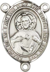 "Scapular - .75"" Oval - Pewter Centerpiece"